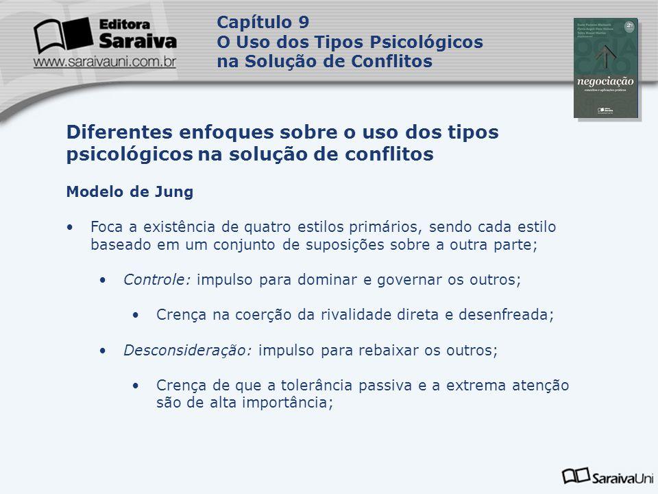 Capa da Obra Capítulo 9 O Uso dos Tipos Psicológicos na Solução de Conflitos Modelo de Jung Foca a existência de quatro estilos primários, sendo cada