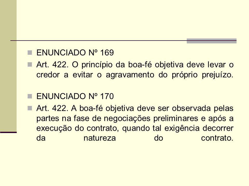 ENUNCIADO Nº 169 Art. 422. O princípio da boa-fé objetiva deve levar o credor a evitar o agravamento do próprio prejuízo. ENUNCIADO Nº 170 Art. 422. A