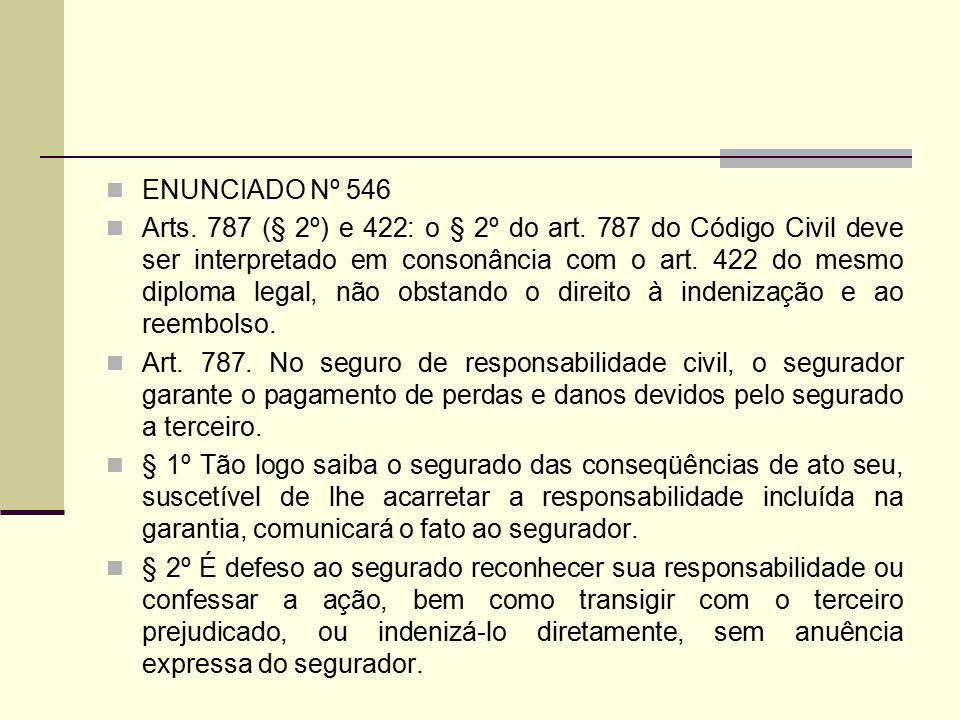 ENUNCIADO Nº 546 Arts. 787 (§ 2º) e 422: o § 2º do art. 787 do Código Civil deve ser interpretado em consonância com o art. 422 do mesmo diploma legal