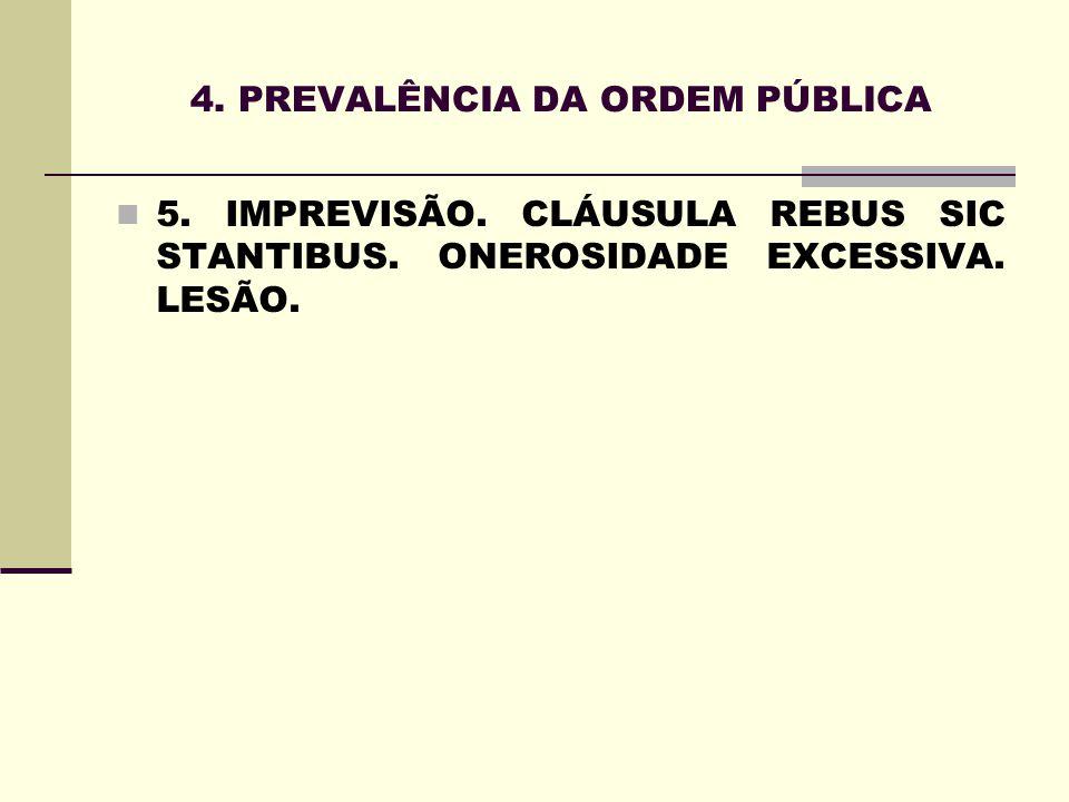 4. PREVALÊNCIA DA ORDEM PÚBLICA 5. IMPREVISÃO. CLÁUSULA REBUS SIC STANTIBUS. ONEROSIDADE EXCESSIVA. LESÃO.