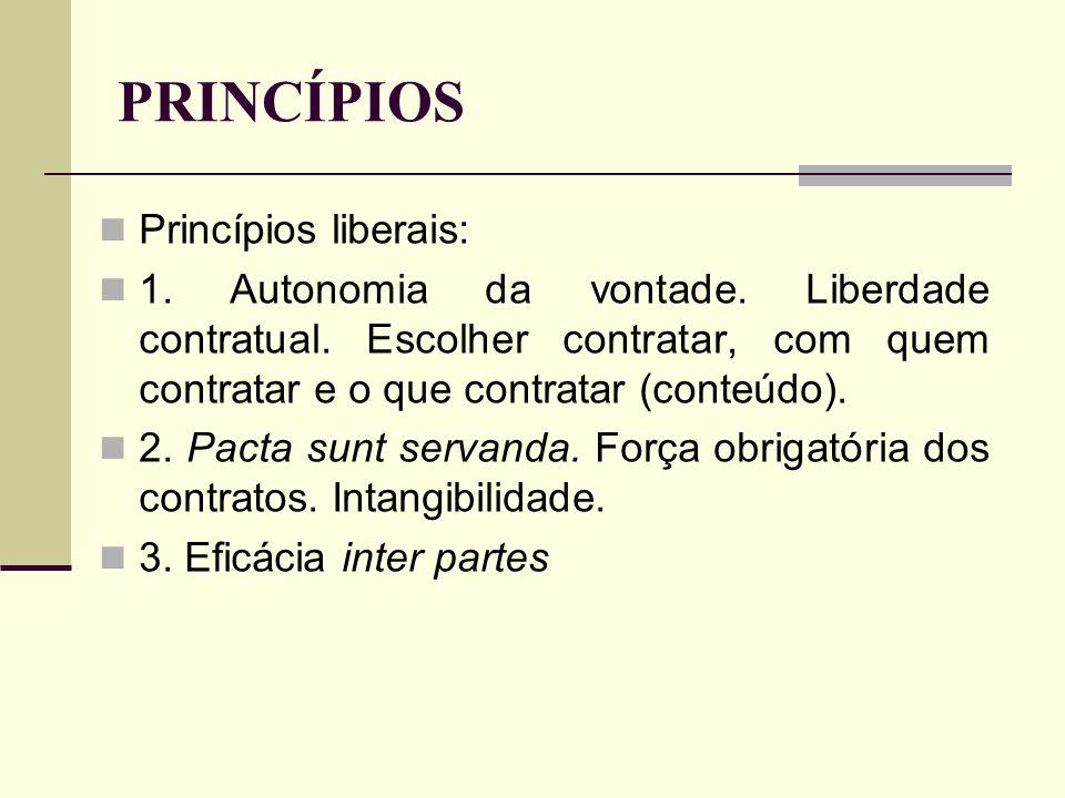 PRINCÍPIOS Princípios liberais: 1. Autonomia da vontade. Liberdade contratual. Escolher contratar, com quem contratar e o que contratar (conteúdo). 2.