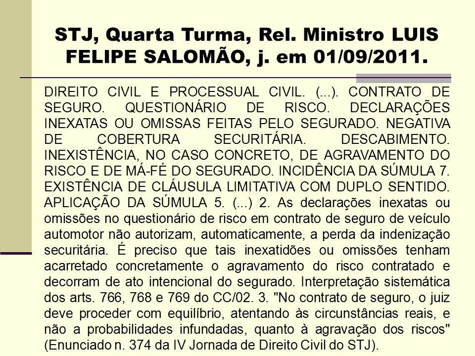 STJ, Quarta Turma, Rel. Ministro LUIS FELIPE SALOMÃO, j. em 01/09/2011. DIREITO CIVIL E PROCESSUAL CIVIL. (...). CONTRATO DE SEGURO. QUESTIONÁRIO DE R