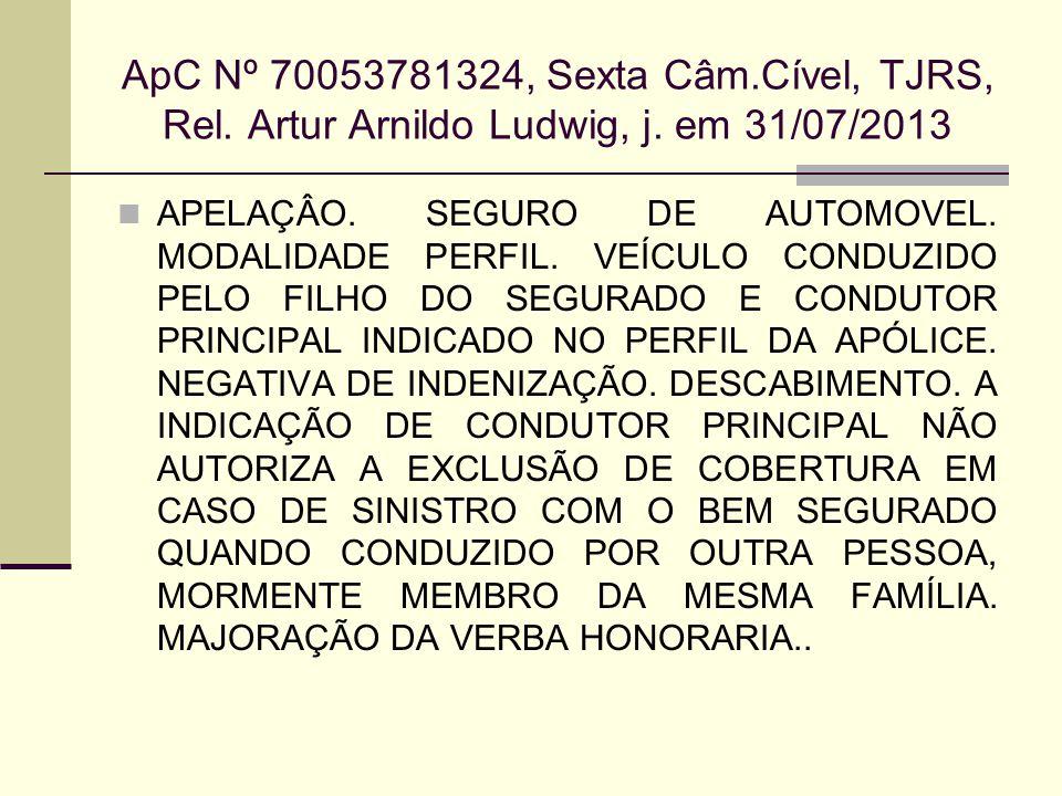 ApC Nº 70053781324, Sexta Câm.Cível, TJRS, Rel. Artur Arnildo Ludwig, j. em 31/07/2013 APELAÇÂO. SEGURO DE AUTOMOVEL. MODALIDADE PERFIL. VEÍCULO CONDU