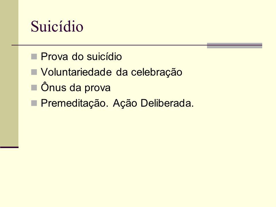 Suicídio Prova do suicídio Voluntariedade da celebração Ônus da prova Premeditação. Ação Deliberada.