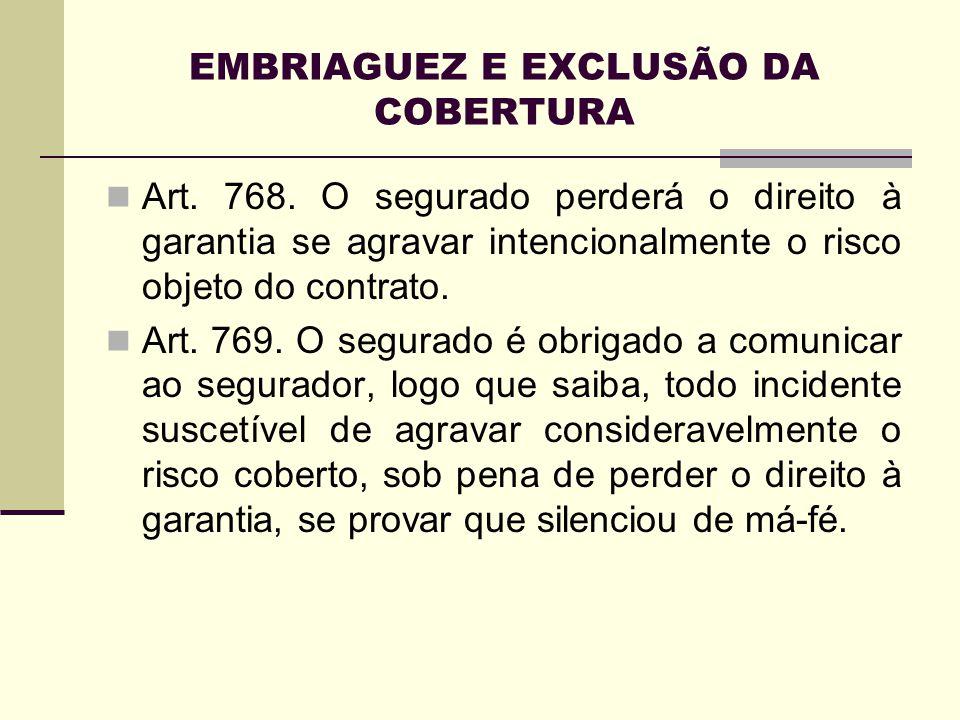 EMBRIAGUEZ E EXCLUSÃO DA COBERTURA Art. 768. O segurado perderá o direito à garantia se agravar intencionalmente o risco objeto do contrato. Art. 769.
