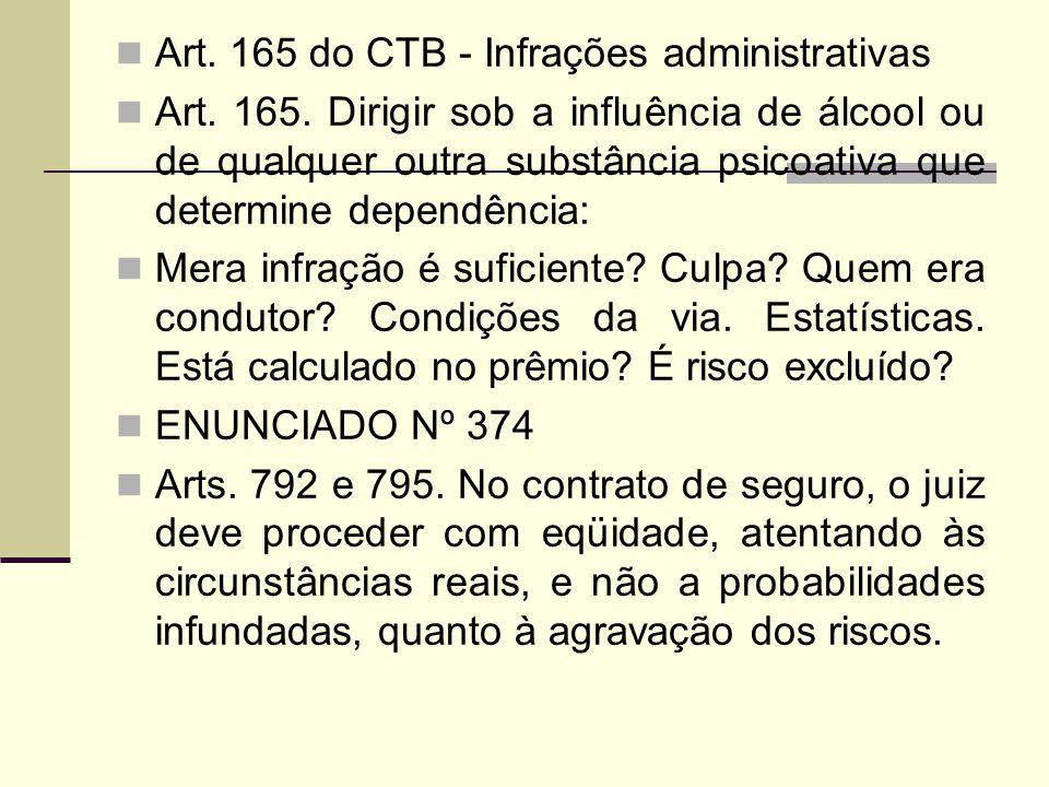 Art. 165 do CTB - Infrações administrativas Art. 165. Dirigir sob a influência de álcool ou de qualquer outra substância psicoativa que determine depe