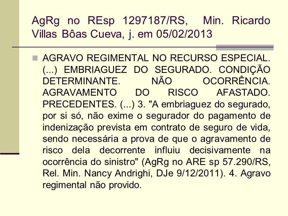 AgRg no REsp 1297187/RS, Min. Ricardo Villas Bôas Cueva, j. em 05/02/2013 AGRAVO REGIMENTAL NO RECURSO ESPECIAL. (...) EMBRIAGUEZ DO SEGURADO. CONDIÇÃ