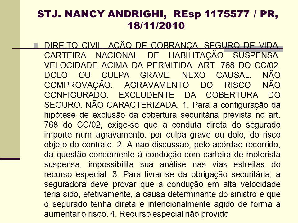 STJ. NANCY ANDRIGHI, REsp 1175577 / PR, 18/11/2010 DIREITO CIVIL. AÇÃO DE COBRANÇA. SEGURO DE VIDA. CARTEIRA NACIONAL DE HABILITAÇÃO SUSPENSA. VELOCID