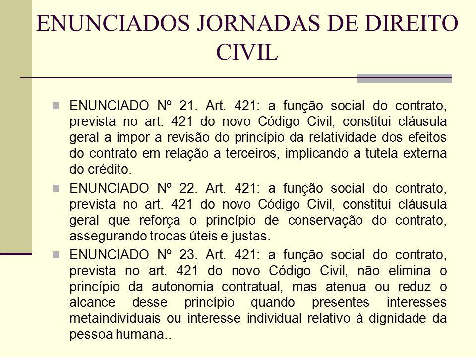ENUNCIADO Nº 21. Art. 421: a função social do contrato, prevista no art. 421 do novo Código Civil, constitui cláusula geral a impor a revisão do princ