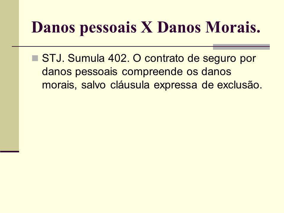 Danos pessoais X Danos Morais. STJ. Sumula 402. O contrato de seguro por danos pessoais compreende os danos morais, salvo cláusula expressa de exclusã