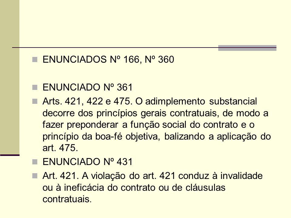 ENUNCIADOS Nº 166, Nº 360 ENUNCIADO Nº 361 Arts. 421, 422 e 475. O adimplemento substancial decorre dos princípios gerais contratuais, de modo a fazer