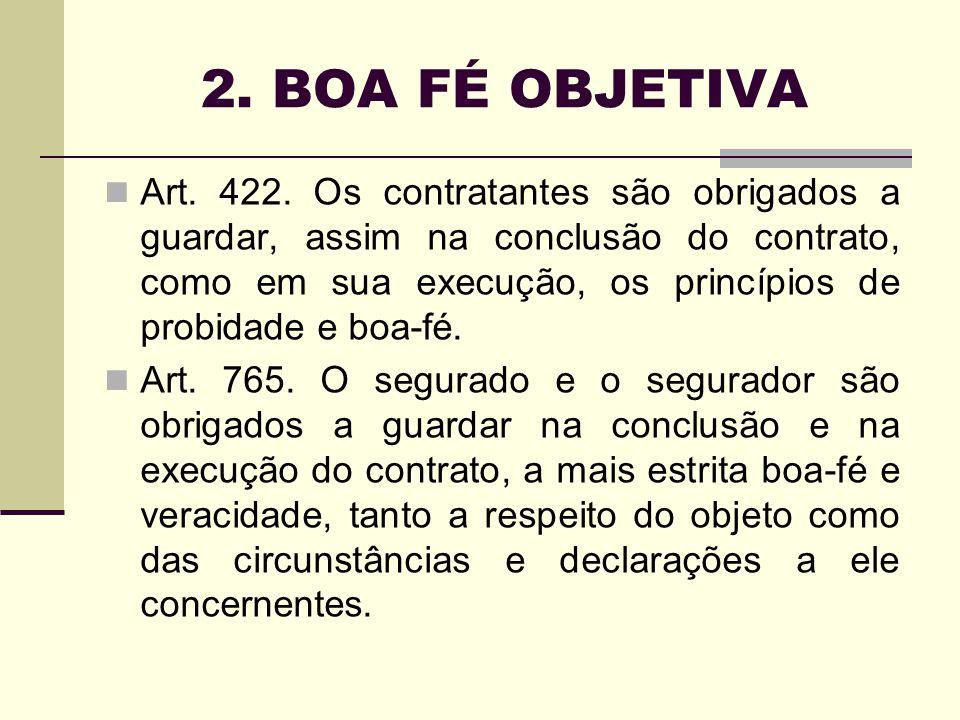 2. BOA FÉ OBJETIVA Art. 422. Os contratantes são obrigados a guardar, assim na conclusão do contrato, como em sua execução, os princípios de probidade