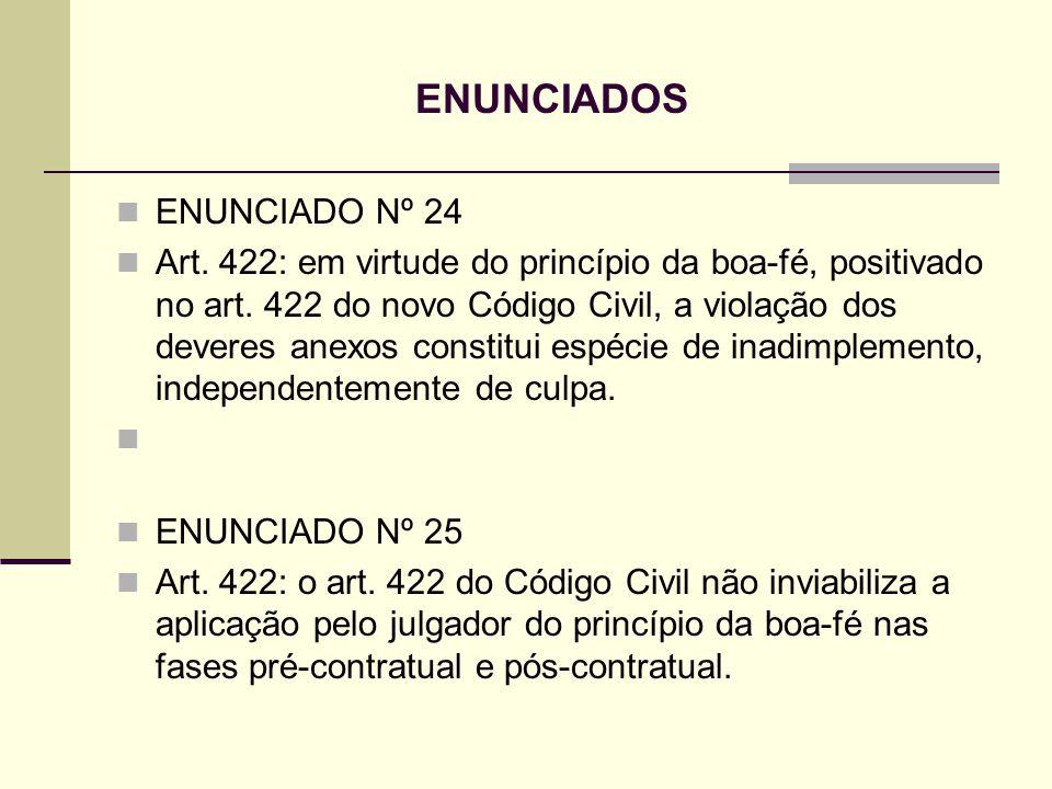 ENUNCIADOS ENUNCIADO Nº 24 Art. 422: em virtude do princípio da boa-fé, positivado no art. 422 do novo Código Civil, a violação dos deveres anexos con