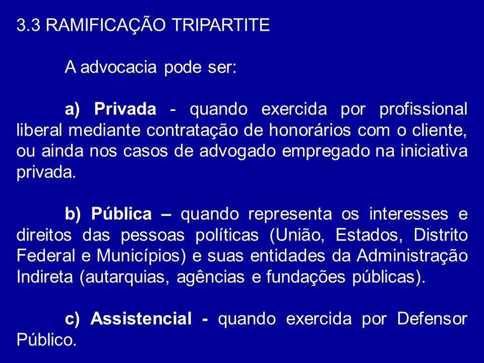 3.3 RAMIFICAÇÃO TRIPARTITE A advocacia pode ser: a) Privada - quando exercida por profissional liberal mediante contratação de honorários com o client