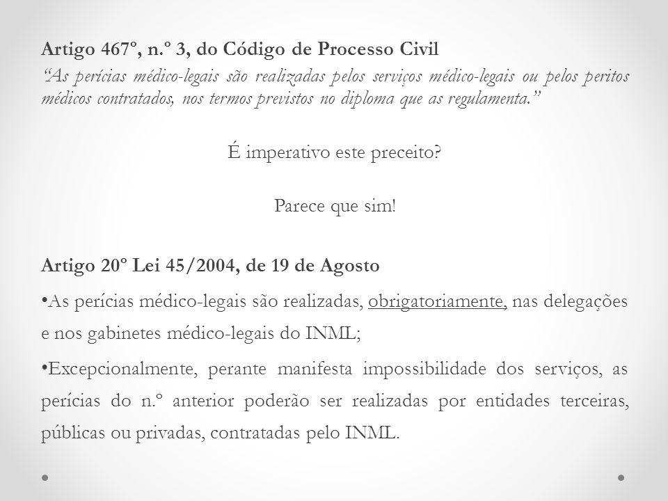 """Artigo 467º, n.º 3, do Código de Processo Civil """"As perícias médico-legais são realizadas pelos serviços médico-legais ou pelos peritos médicos contra"""