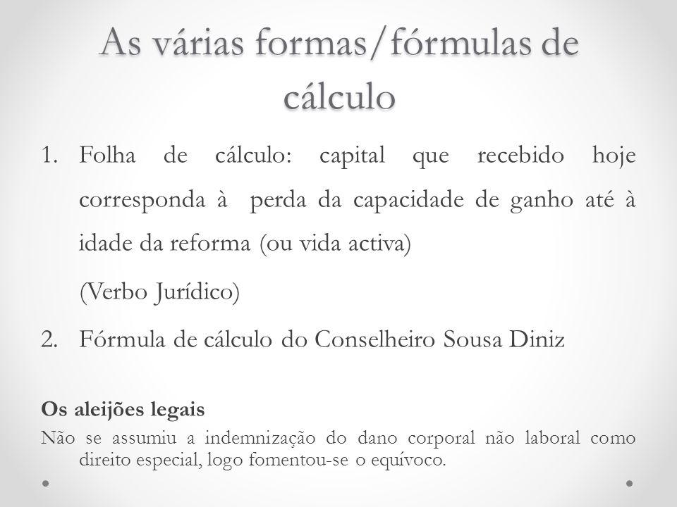 As várias formas/fórmulas de cálculo 1.Folha de cálculo: capital que recebido hoje corresponda à perda da capacidade de ganho até à idade da reforma (