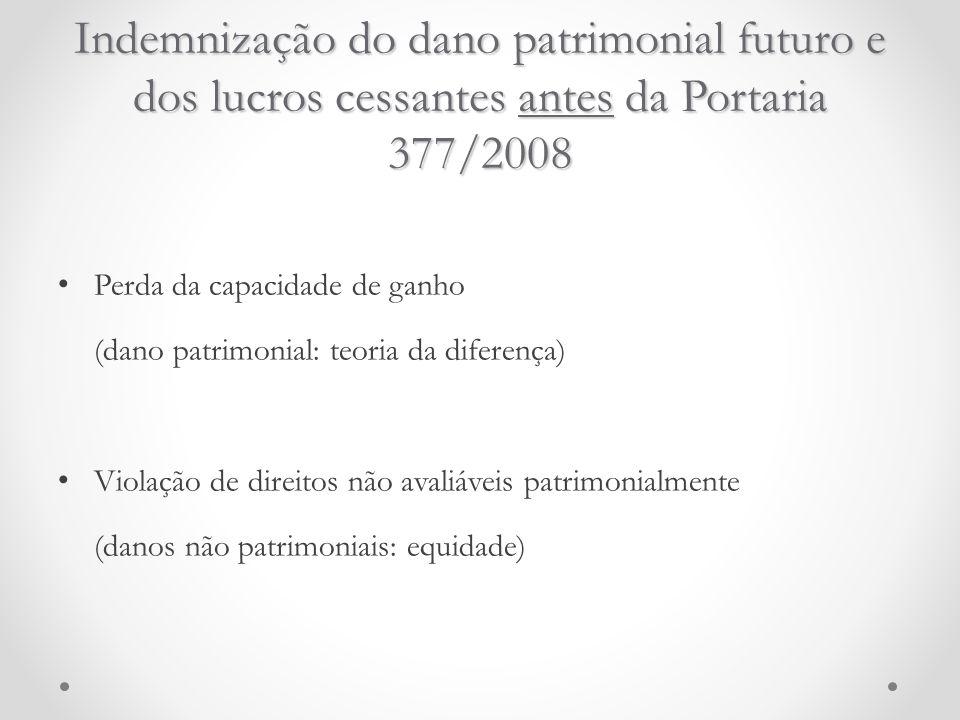 Indemnização do dano patrimonial futuro e dos lucros cessantes antes da Portaria 377/2008 Perda da capacidade de ganho (dano patrimonial: teoria da di