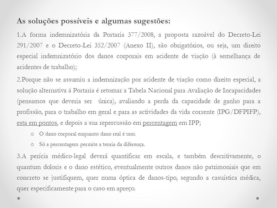 As soluções possíveis e algumas sugestões: 1.A forma indemnizatória da Portaria 377/2008, a proposta razoável do Decreto-Lei 291/2007 e o Decreto-Lei
