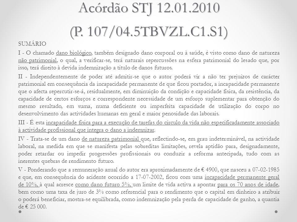 Acórdão STJ 12.01.2010 (P. 107/04.5TBVZL.C1.S1) SUMÁRIO I - O chamado dano biológico, também designado dano corporal ou à saúde, é visto como dano de