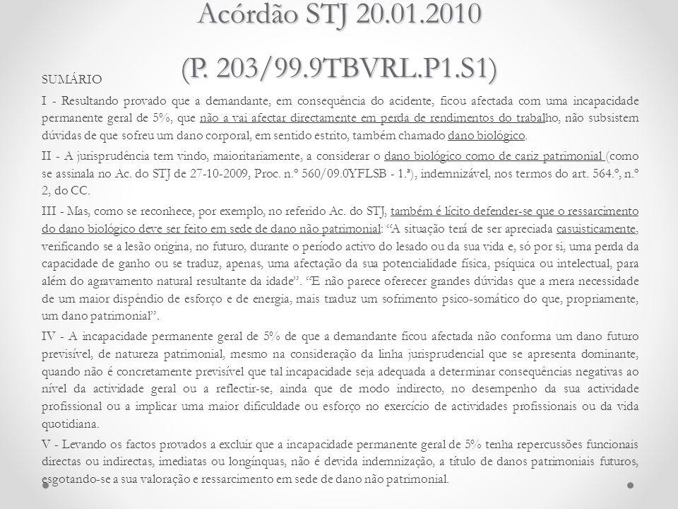 Acórdão STJ 20.01.2010 (P. 203/99.9TBVRL.P1.S1) SUMÁRIO I - Resultando provado que a demandante, em consequência do acidente, ficou afectada com uma i