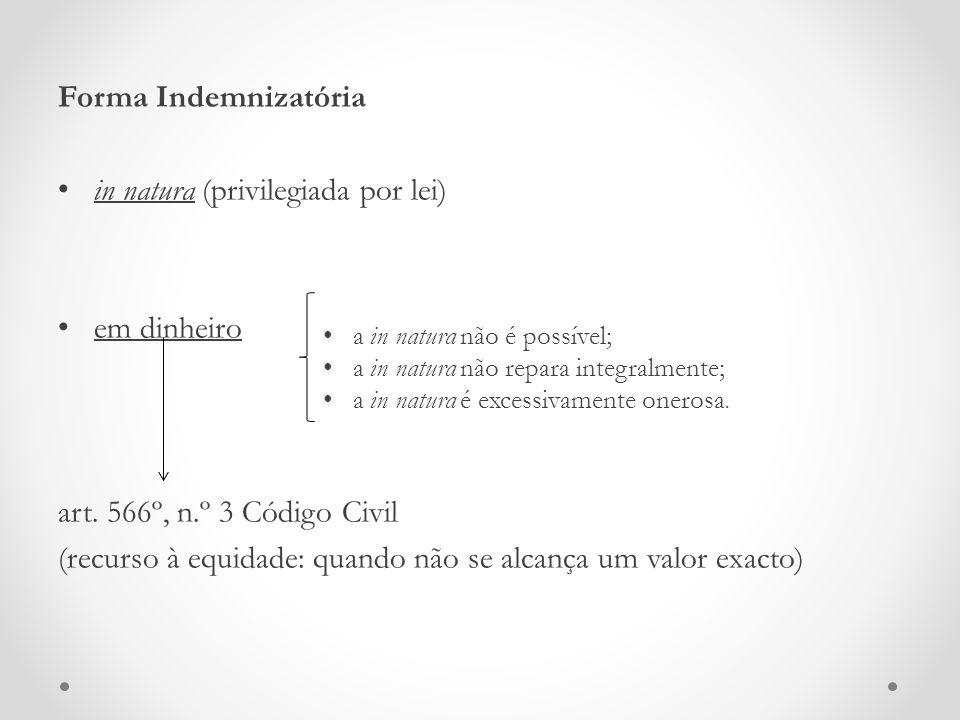 Forma Indemnizatória in natura (privilegiada por lei) em dinheiro art. 566º, n.º 3 Código Civil (recurso à equidade: quando não se alcança um valor ex