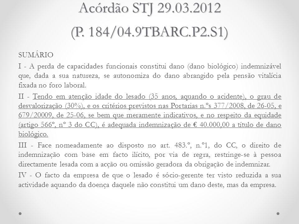 Acórdão STJ 29.03.2012 (P. 184/04.9TBARC.P2.S1) SUMÁRIO I - A perda de capacidades funcionais constitui dano (dano biológico) indemnizável que, dada a