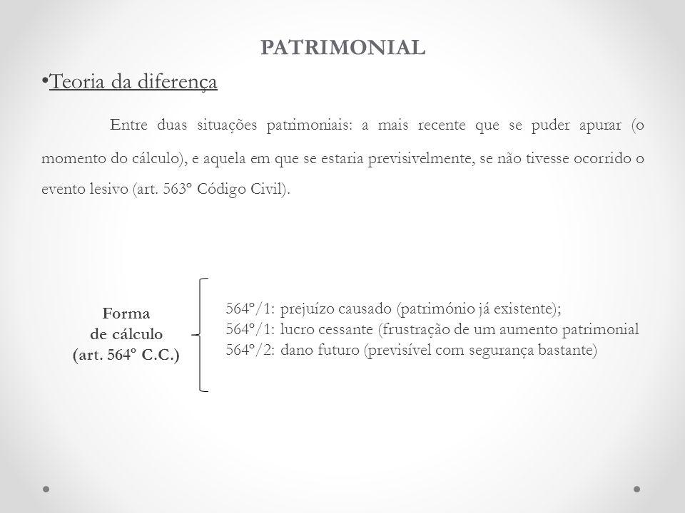 PATRIMONIAL Teoria da diferença Entre duas situações patrimoniais: a mais recente que se puder apurar (o momento do cálculo), e aquela em que se estar
