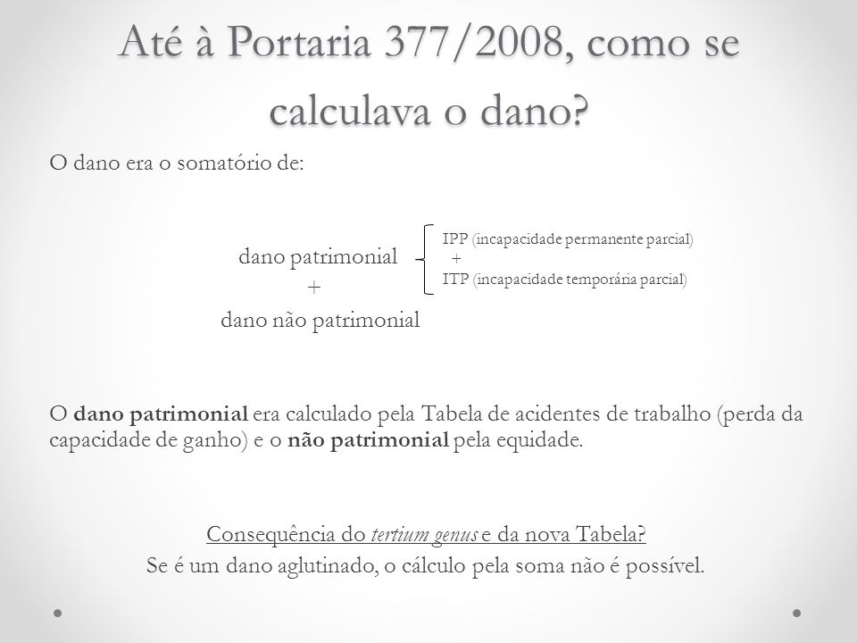 Até à Portaria 377/2008, como se calculava o dano? O dano era o somatório de: dano patrimonial + dano não patrimonial O dano patrimonial era calculado