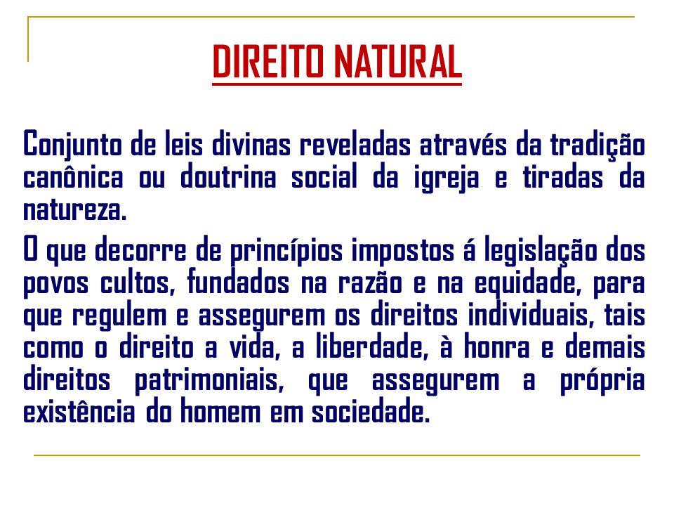 DIREITO NATURAL Conjunto de leis divinas reveladas através da tradição canônica ou doutrina social da igreja e tiradas da natureza.