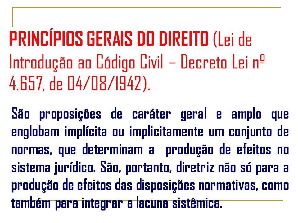 PRINCÍPIOS GERAIS DO DIREITO (Lei de Introdução ao Código Civil – Decreto Lei nº 4.657, de 04/08/1942).