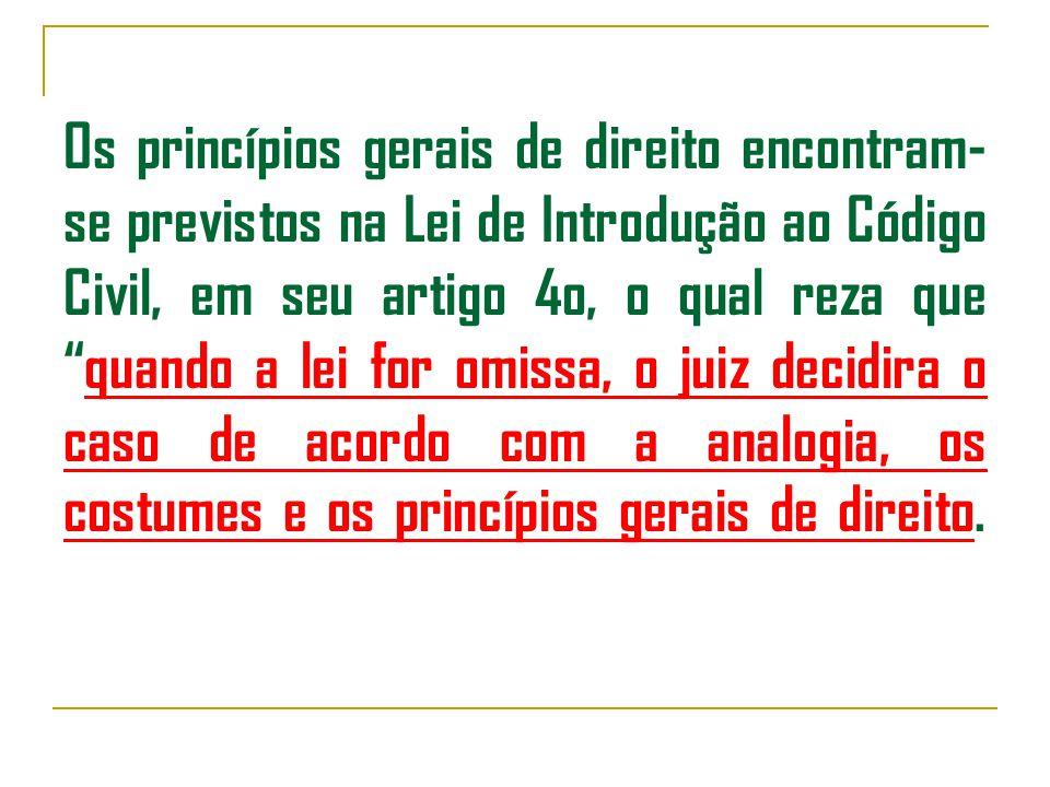 Os princípios gerais de direito encontram- se previstos na Lei de Introdução ao Código Civil, em seu artigo 4o, o qual reza que quando a lei for omissa, o juiz decidira o caso de acordo com a analogia, os costumes e os princípios gerais de direito.