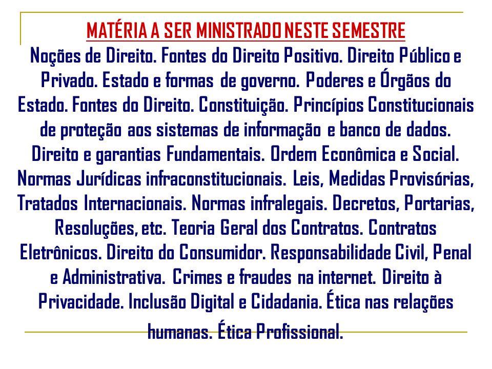 MATÉRIA A SER MINISTRADO NESTE SEMESTRE Noções de Direito.