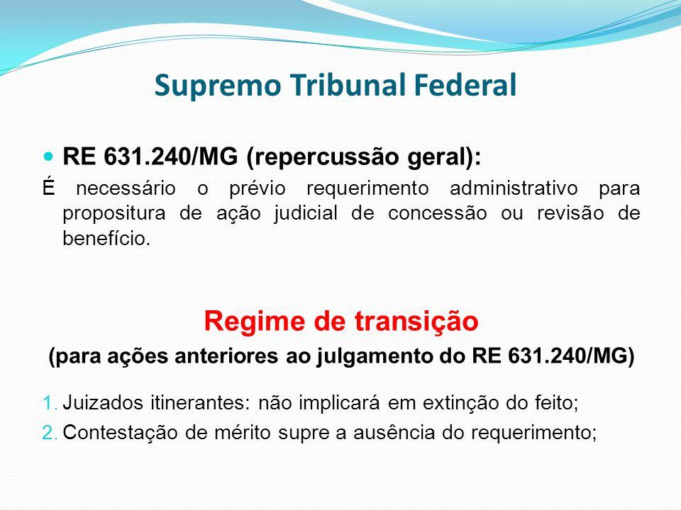 Supremo Tribunal Federal RE 631.240/MG (repercussão geral): É necessário o prévio requerimento administrativo para propositura de ação judicial de con