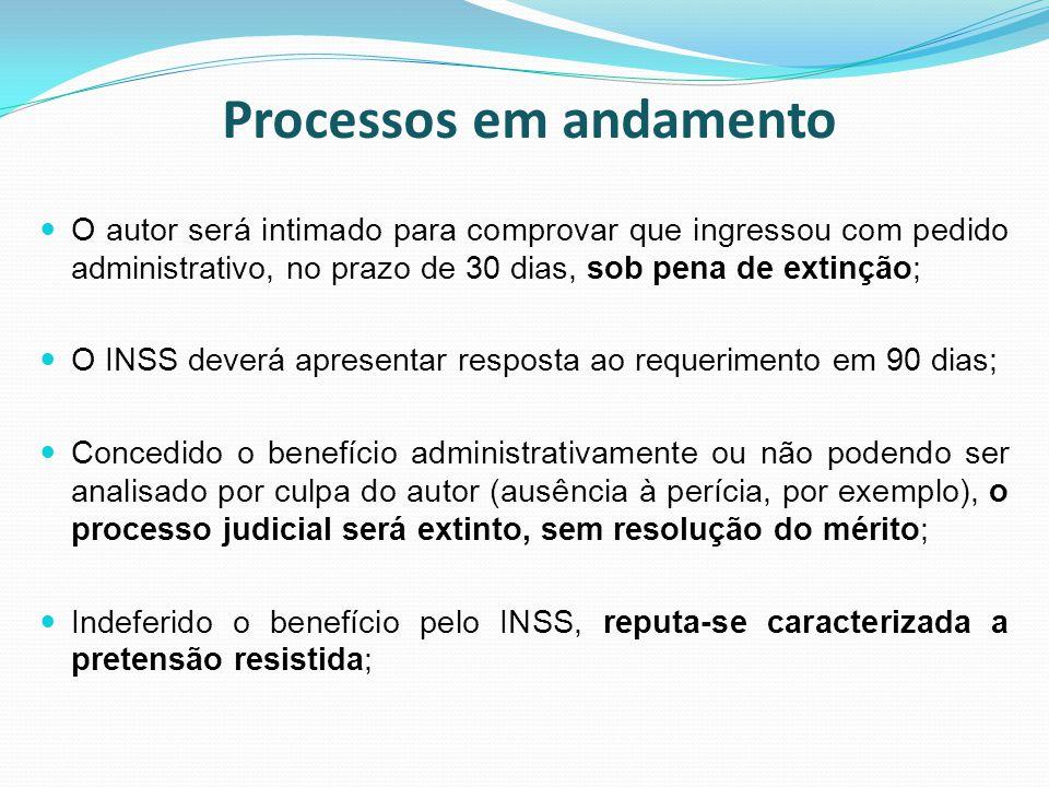 Processos em andamento O autor será intimado para comprovar que ingressou com pedido administrativo, no prazo de 30 dias, sob pena de extinção; O INSS