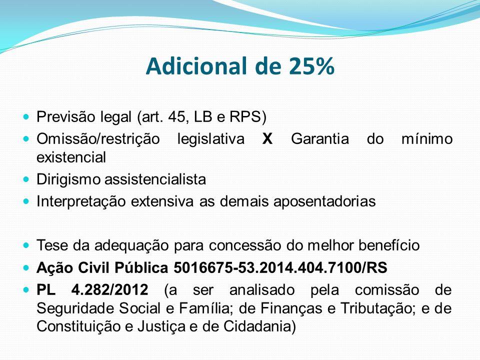 Adicional de 25% Previsão legal (art. 45, LB e RPS) Omissão/restrição legislativa X Garantia do mínimo existencial Dirigismo assistencialista Interpre