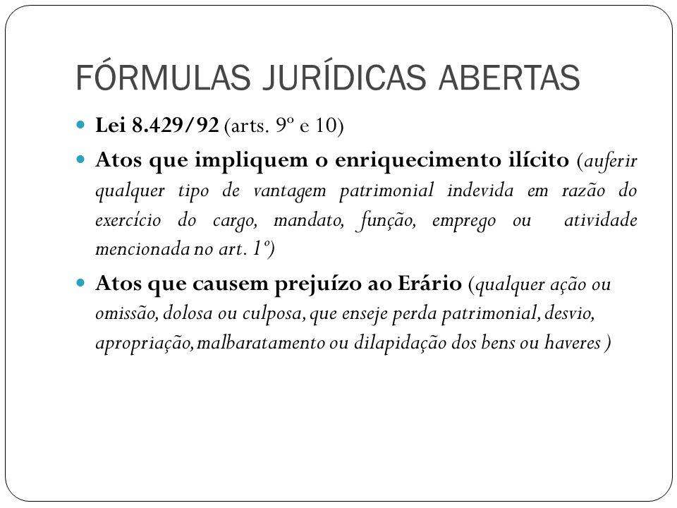 FÓRMULAS JURÍDICAS ABERTAS Atos contrários aos princípios da Administração Pública (art.11) Ato que atenta contra os princípios da Administração Pública, qualquer ação ou omissão que viole os deveres de honestidade, imparcialidade, legalidade, lealdade ás instituições
