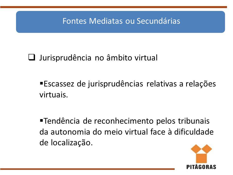  Jurisprudência no âmbito virtual  Escassez de jurisprudências relativas a relações virtuais.  Tendência de reconhecimento pelos tribunais da auton