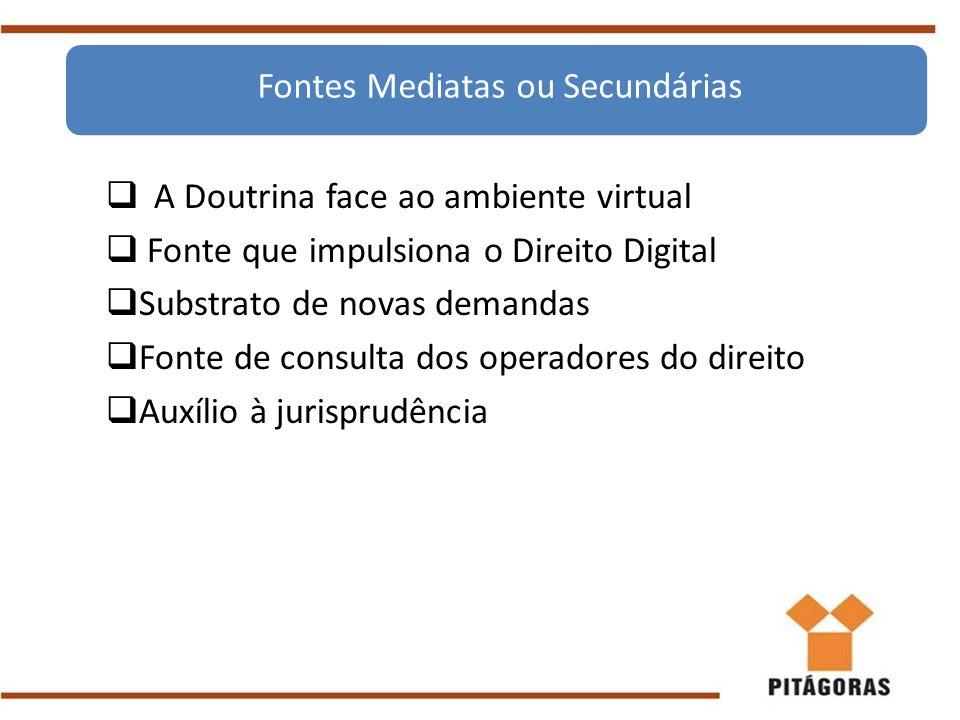  A Doutrina face ao ambiente virtual  Fonte que impulsiona o Direito Digital  Substrato de novas demandas  Fonte de consulta dos operadores do dir