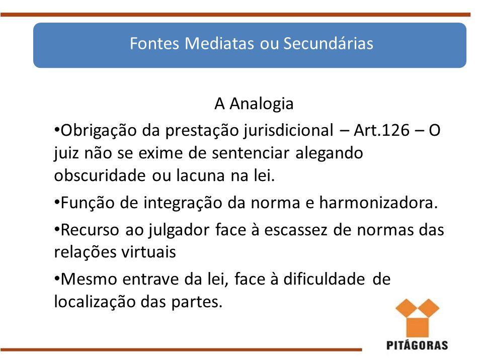 A Analogia Obrigação da prestação jurisdicional – Art.126 – O juiz não se exime de sentenciar alegando obscuridade ou lacuna na lei. Função de integra