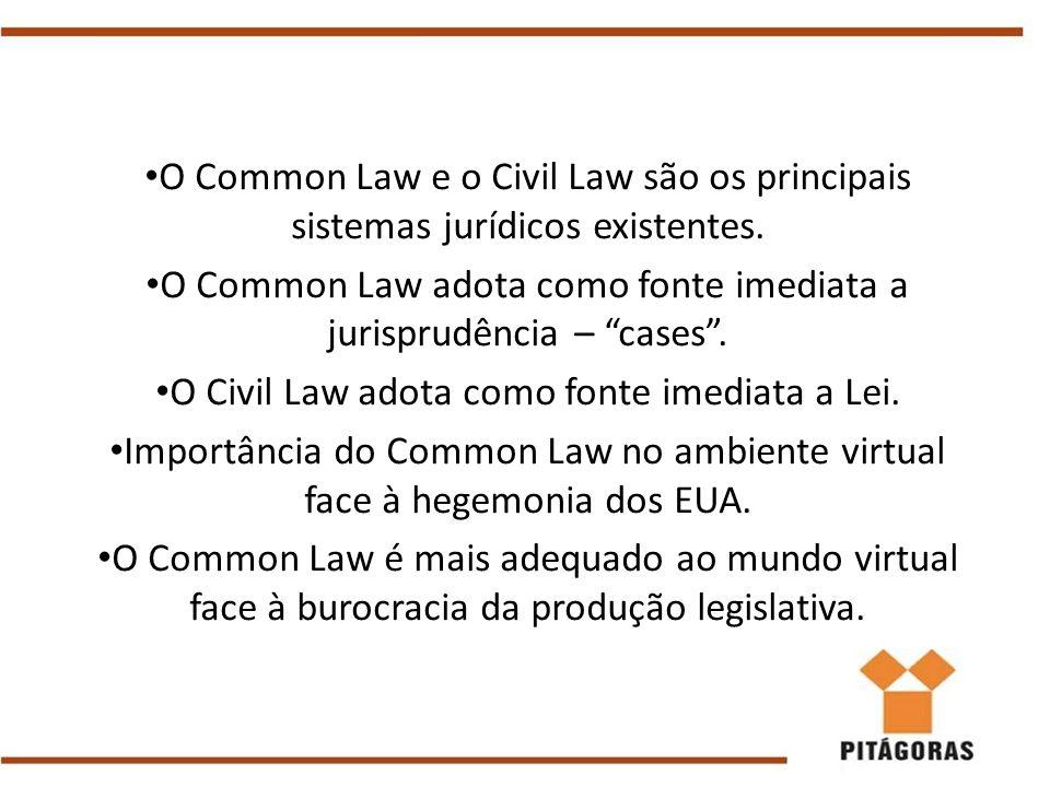 """O Common Law e o Civil Law são os principais sistemas jurídicos existentes. O Common Law adota como fonte imediata a jurisprudência – """"cases"""". O Civil"""
