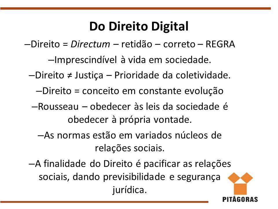 – Direito = Directum – retidão – correto – REGRA – Imprescindível à vida em sociedade. – Direito ≠ Justiça – Prioridade da coletividade. – Direito = c