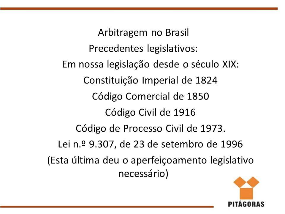 Arbitragem no Brasil Precedentes legislativos: Em nossa legislação desde o século XIX: Constituição Imperial de 1824 Código Comercial de 1850 Código C