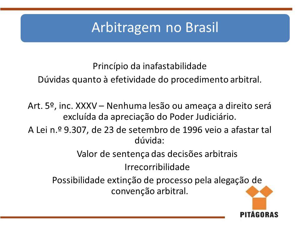 Princípio da inafastabilidade Dúvidas quanto à efetividade do procedimento arbitral. Art. 5º, inc. XXXV – Nenhuma lesão ou ameaça a direito será exclu