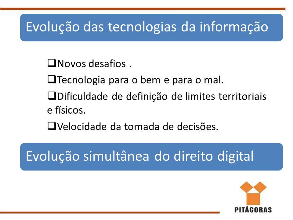  Novos desafios.  Tecnologia para o bem e para o mal.  Dificuldade de definição de limites territoriais e físicos.  Velocidade da tomada de decisõ