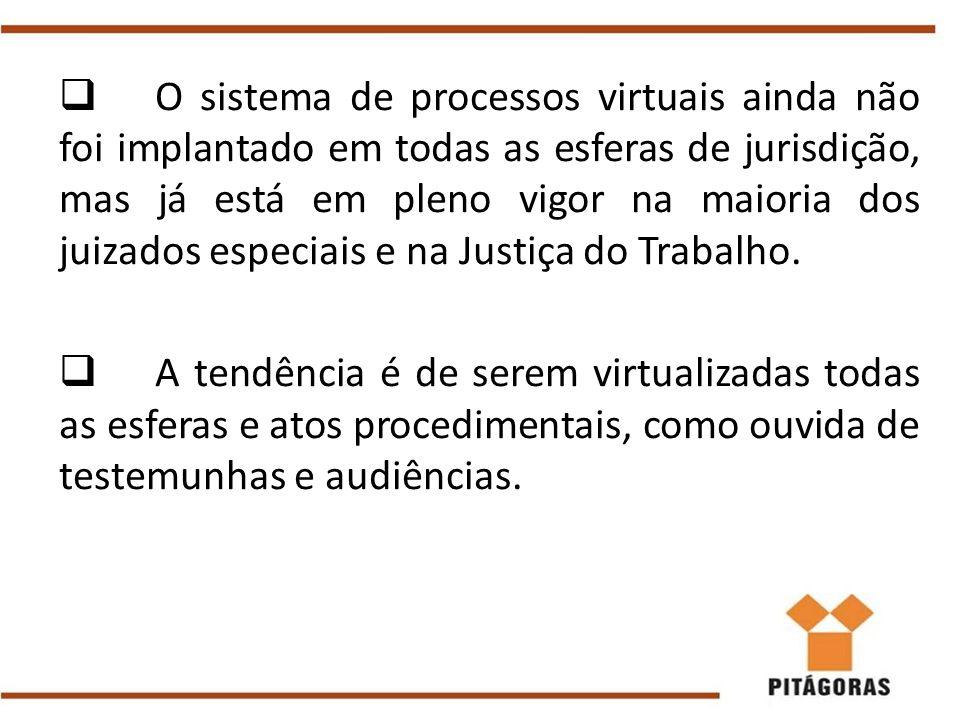  O sistema de processos virtuais ainda não foi implantado em todas as esferas de jurisdição, mas já está em pleno vigor na maioria dos juizados espec