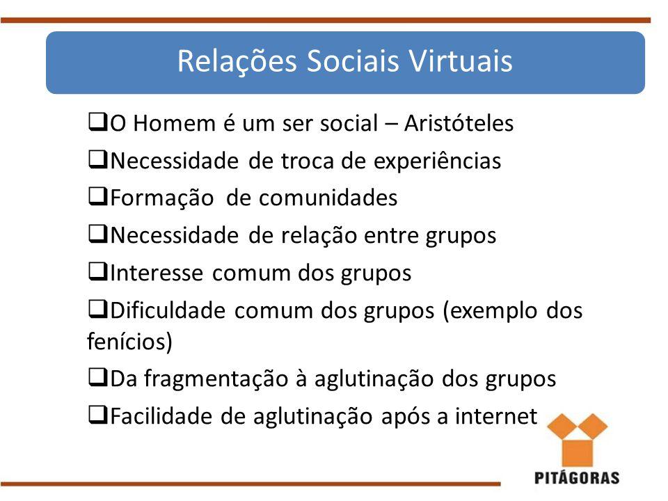  O Homem é um ser social – Aristóteles  Necessidade de troca de experiências  Formação de comunidades  Necessidade de relação entre grupos  Inter