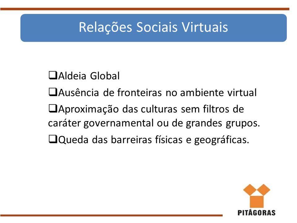  Aldeia Global  Ausência de fronteiras no ambiente virtual  Aproximação das culturas sem filtros de caráter governamental ou de grandes grupos.  Q