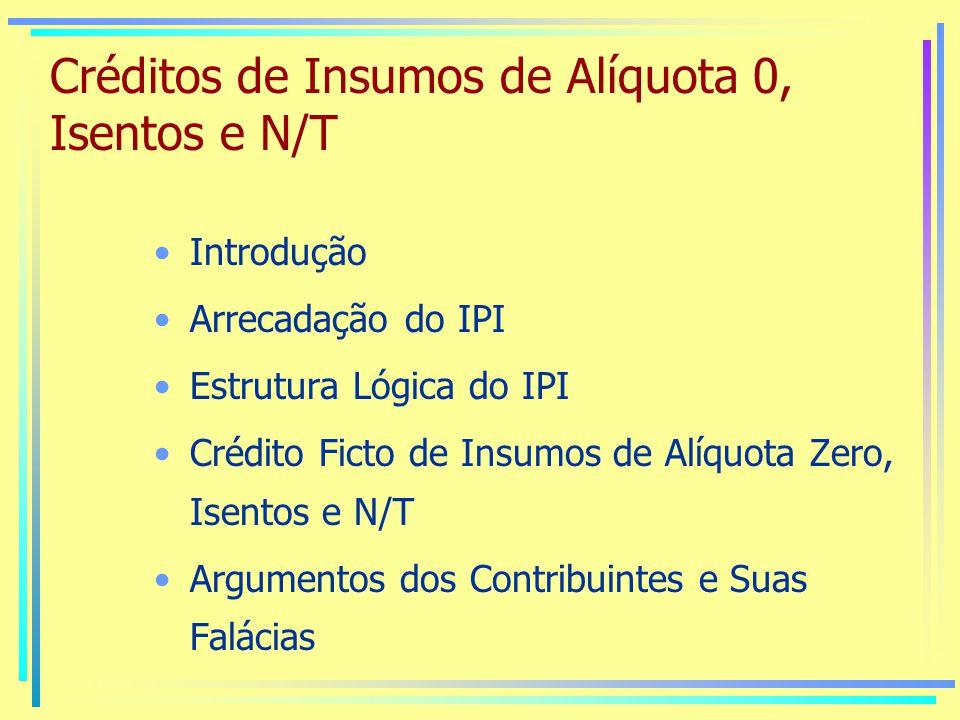 Créditos de Insumos de Alíquota 0, Isentos e N/T Introdução Arrecadação do IPI Estrutura Lógica do IPI Crédito Ficto de Insumos de Alíquota Zero, Isentos e N/T Argumentos dos Contribuintes e Suas Falácias