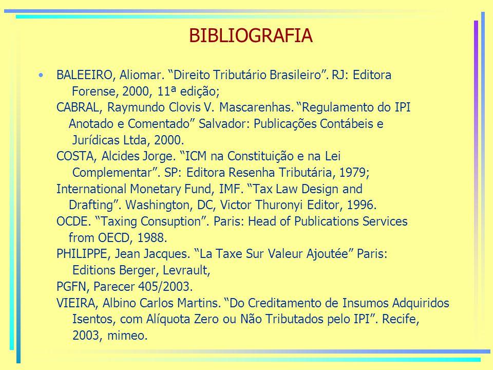 BIBLIOGRAFIA BALEEIRO, Aliomar. Direito Tributário Brasileiro .