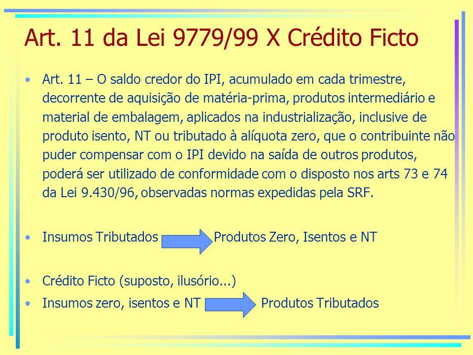 Art.11 da Lei 9779/99 X Crédito Ficto Art.
